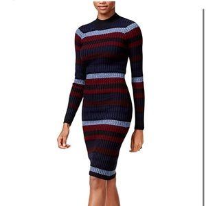 Bar III Ribbed Striped Knit Midi Sweater Dress